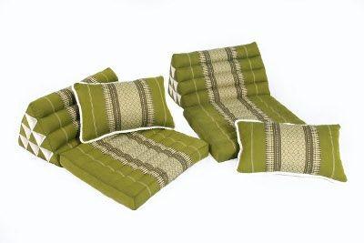 Thaikissen Set: 2 Dreieckskissen + 2 Sofakissen (bambusgrün)