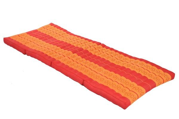 große 4-fach faltbare Kapokmatte 200x80 cm (rot & orange) offen