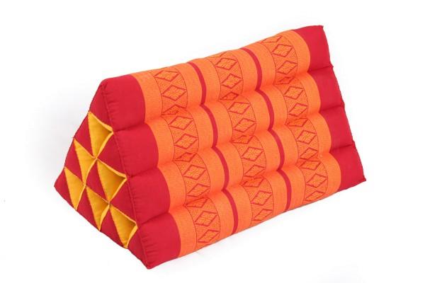 Traditionelles Dreieckskissen im Thai Design, rot-orange mit Kapok Füllung, 50x28cm