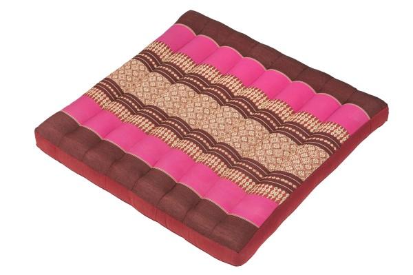 Großes Thai-Sitzkissen 50x50 cm (burgunder & pink)