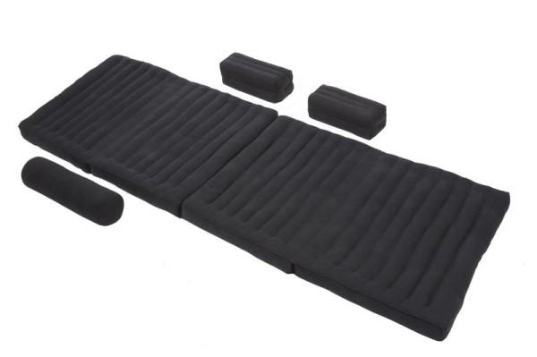 Set: Klappmatte + verschiedene Kissen (schwarz)