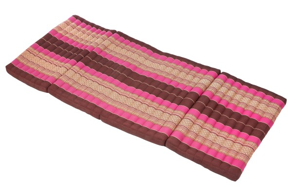 große 4-fach faltbare Kapokmatte 200x80 cm (burgunder & pink) offen