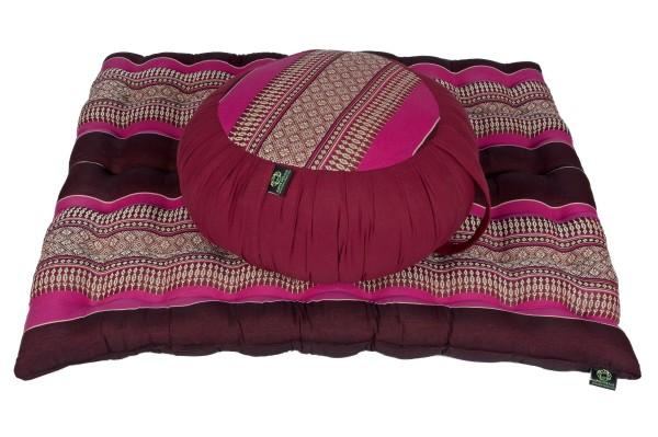 Meditationsset mit Kapokfüllung (burgunder & pink)