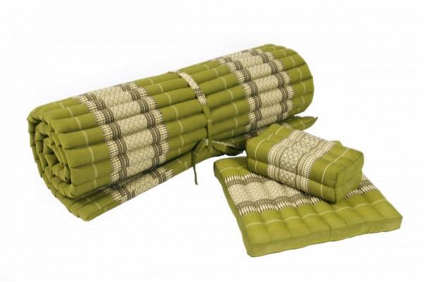 Yogaset: Matte 200x100 + Yogakissen + Sitzkissen (bambusgrün)