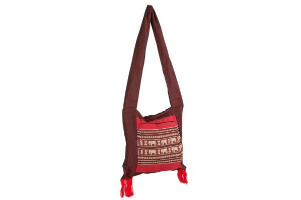 Thai shoulder bag approx. 36 x 37 cm (red elephants)