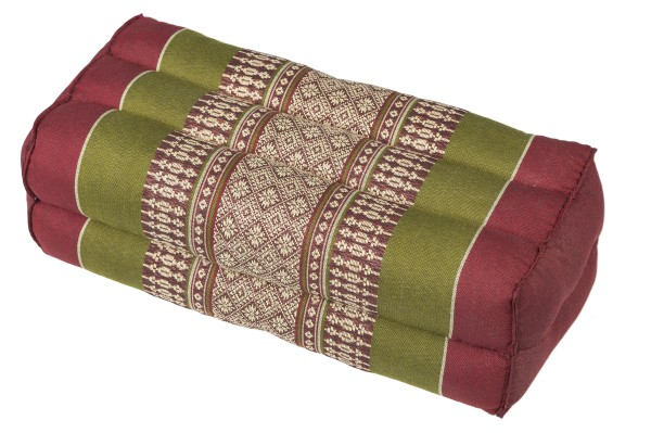 Block Cushion, Kapok Filling, Thai Design, red & green