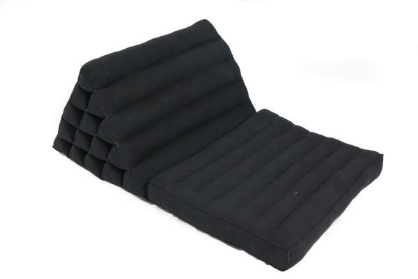 Jumbo 1-fold-Thaikissen Naturbaumwolle 80x55 cm (schwarz) offen