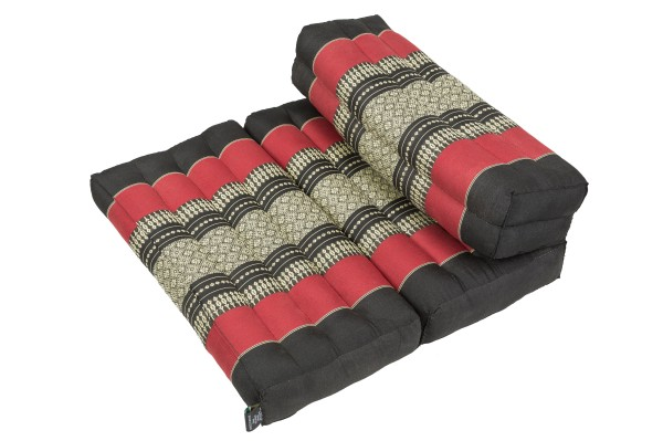 Faltbares Meditationskissen 50x15x10 cm (schwarz & rot)