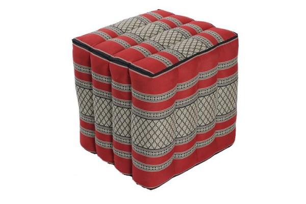Würfelförmiges Kissen 40x40x40 cm (schwarz & rot)