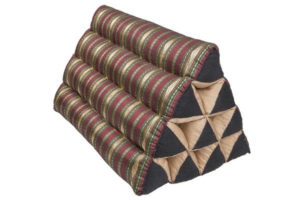 Thaikissen Dreieck 50x30x25 cm (Silklook Stripes gold-rot)