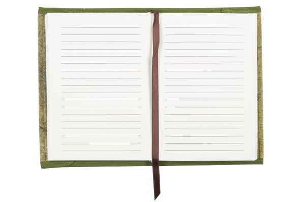 Notizbuch mit abnehmbarer Hülle aus laminierten Teakblättern (grün)