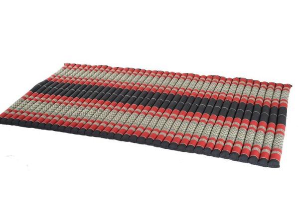 Thaikissen Rollmatte 200x100 cm (schwarz & rot) offen