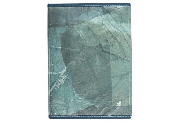 Notizbuch aus Teakblättern (blau)