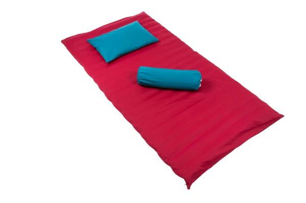 Buchweizen Set: Rollmatte + Kissen (rot-blau)