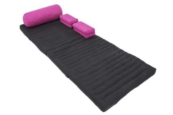 Set: Klappmatte + Yogabolster + 2 Kissen (schwarz&pink)