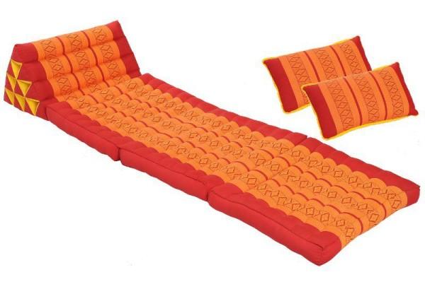 Thaikissen Set: Dreiecksmatte mit 2 Sofakissen rot-orange