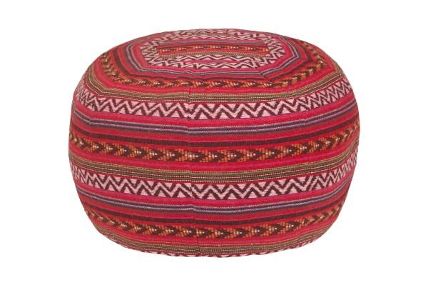 Pouf Rundes Kissen Baumwolle gewebt 34 x 48 cm rot