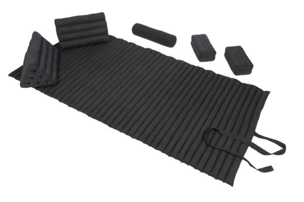Set: Rollmatte + Bolster + 2 Dreiecke + 2 Kissen (schwarz)